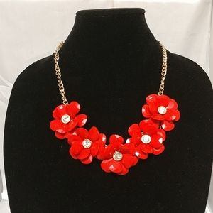 3D orange flower gold statement necklace